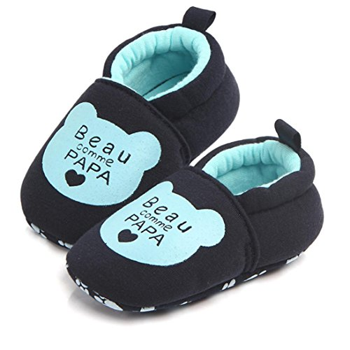 Ouneed® Krabbel schuhe , Lovely Toddler First Walkers Baby Shoes Round Toe Flats Soft Slippers Shoes Blau