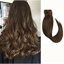 Medium Brown Hair Extensions Clip in Human Hair 14 inch 7 Hair Pieces Full Head Fine Hair #4 Silky Straight Long Remy Hair 70g