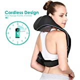 Naipo Shoulder Massager Cordless Massager for Neck and Back with Longer Straps, Shiatsu Kneading Massage, Rechargeable Battery, Adjustable Intensity for Home Office Car Use