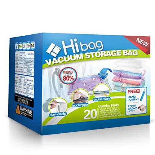 Hibag Space Saver Bags, 20 Pack Vacuum Storage Bags (2Small, 6Medium, 5Large, 5Jumbo, 2Jumbo+) with 2 Roll Up Bags and 1 Hand-Pump