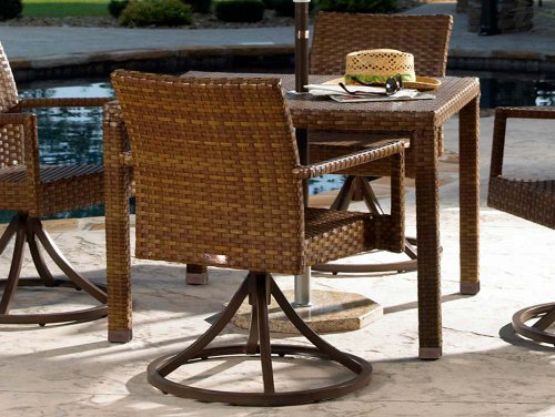 Panama Jack Outdoor 5-Piece St Barths Swivel Chair Dining Set, Includes 4 Swivel Dining Chairs and 36-Inch Square Woven Table