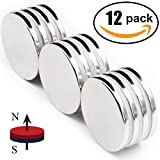 Strong Neodymium Disc Magnets 50% Stronger Than N35 Rare Earth Magnets - 1.26'' D x 1/8'' H, Pack of 12