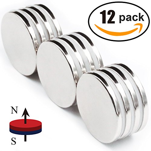 Strong Neodymium Disc Magnets 50% Stronger Than N35 Rare Earth Magnets - 1.26'' D x 1/8'' H, Pack of 12 by LOVIMAG