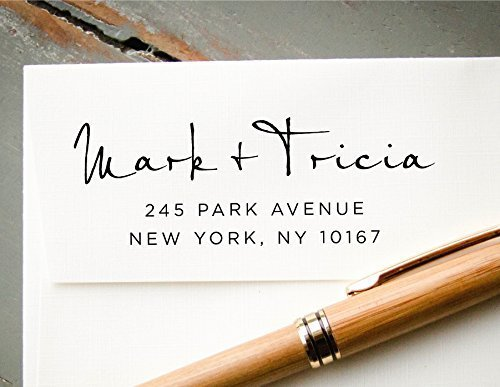 Self-Inking Hand Calligraphy Font Custom Return Address Stamp, Personalized White Ink Rubber Stamp, Wedding Invitation Addressing