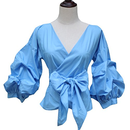 Girls Puff Sleeve Top (AOMEI Blue Color Women Spring Summer Blouses With Puff Sleeve Sashes Shirts Tops Size L)