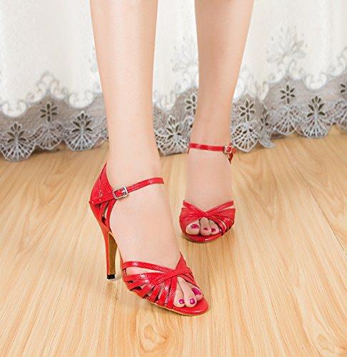 Miyoopark Donna Stiletto Tacco Alto Sintetico Tango Latino Scarpe Da Ballo Partito Formale Sandali Da Sposa Rosso-10cm Tacco