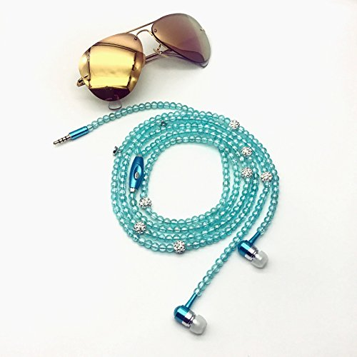 New Fashion Women Girl Rhinestone Jewelry Design Pearl Necklace Earphones,Super Bass HIFI Wired Earbuds Headphones with Mic Stereo Sound Music Earpiece for IOS and Android Smartphone (light blue)