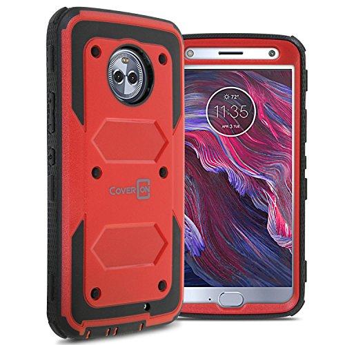 Moto X4 Case, CoverON Tank Series Heavy Duty Full Body Protective Phone Cover for Motorola Moto X4 (2017) - Red