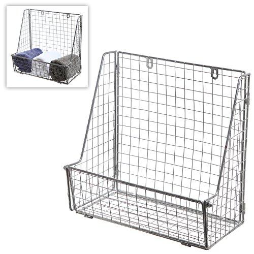 Modern Silver Metal Wire Wall Mounted Hanging Towel Basket / Freestanding Magazine / File Organizer Rack