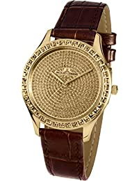 Jacques Lemans Women's Black Leather Band Steel Case Quartz Watch 1-1841ZI