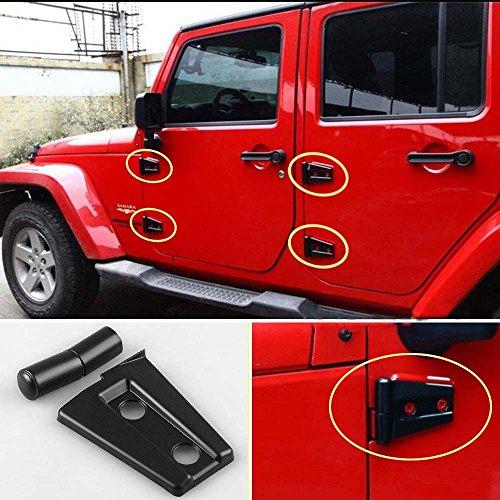 Price comparison product image POMAR 4 Door Car Door Hinge Cover Protector Trim for Jeep Wrangler JK 2007-2016 Black