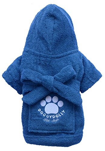 DoggyDolly Authentic Bathrobe, Large, Blue by Doggy Dolly