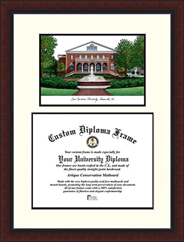East University Frame Carolina Diploma - Campus Images NC995LV East Carolina University Legacy Scholar Diploma Frame, 11