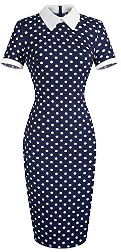 (HOMEYEE Women's Celebrity Turn Down Collar Business Bodycon Dresses(XXL,Dot-Short Sleeve))