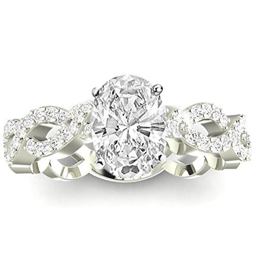 2.25 Carat t.w. 14K White Gold Eternity Love Twisting Split Shank Diamond Engagement Ring a 2 Ct Forever Classic Oval Moissanite Center (2ct Diamond Tw Eternity Band)