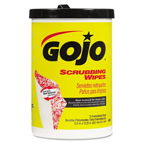 GOJO Scrubbing Wipes, Heavy Duty Hand Cleaning, 10 1/2 x 12 1/4 - six canisters of 72 wipes each.