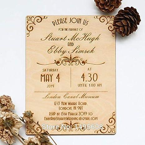 Amazon.com : Occus Wood Wedding Invitation - Art Deco Scroll Design Wedding Invitation - Real Wooden Invite - (Color: 1 pcs, Size: with envolope) : Office ...