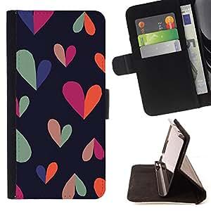 - heart colorful black clean pattern teal - - Prima caja de la PU billetera de cuero con ranuras para tarjetas, efectivo desmontable correa para l Funny HouseFOR HTC One M9