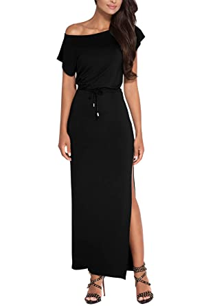 d86674da07c2 Pink Queen Casual Women's One Shoulder Side Slit Cotton Maxi Long Night  Dress S Black