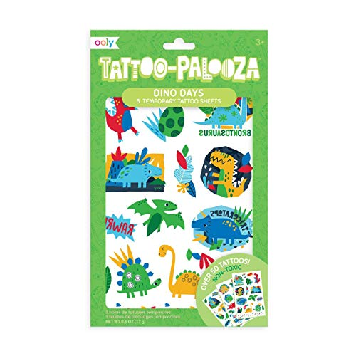 OOLY, Tattoo Palooza Skin-Friendly and Non-Toxic Temporary Tattoo for Kids – Dino Days, 3 Sheets