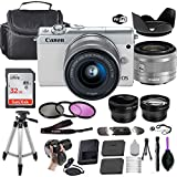 Canon EOS M100 Mirrorless Digital Camera (White) w/EF-M 15-45mm f/3.5-6.3 is STM + Wide-Angle and Telephoto Lenses + Portable Tripod + Memory Card + Deluxe Accessory Bundle