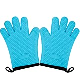 Magician Heat Resistant Gloves - Professional Cotton Lining Pot holders Oven Mitts for Kitchen Cooking Baking, Up to 450°F Heat Resistant, Heavy Duty - 1 Pair (Blue with Cotton Lining)