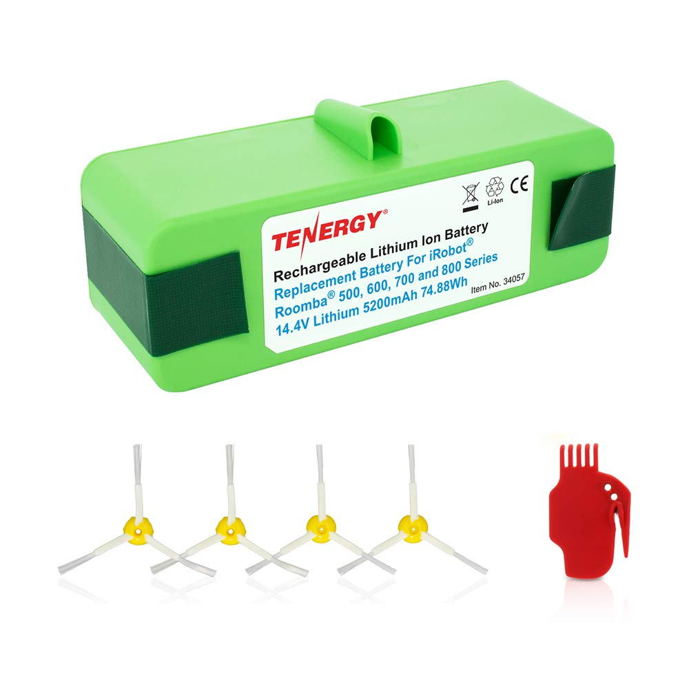 Tenergy 5200mAh Replacement Battery for iRobot Roomba R3 500 600 700 800 Series, 5.2Ah 14.4V Advanced Power System (APS) Li-ion Roomba Battery Bonus 4 Side Brushes and 1 Brush Cleaning Tool by Tenergy