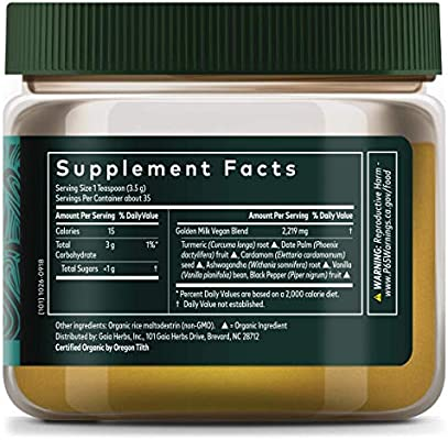 Gaia Herbs, Golden Milk Powder, Stress Support, Ashwaganda, Black Pepper, Cardamom, Date Palm, Turmeric, Vanilla, Vegan Powder Supplement, 4.3 Ounce