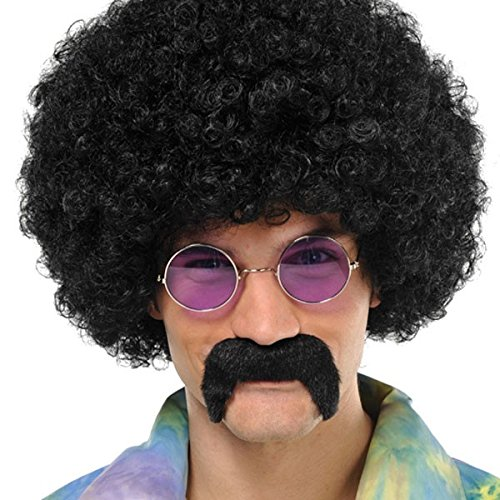 60s Man Costumes Child Love (Groovin '60s Costume Party Hippie Moustache, Black, Synthetic Fiber,)