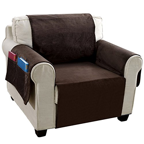 YEMYHOM Real Non-slip Pet Dog Sofa Covers Protectors Water-Repellent Recliner Couch Slipcovers with Pockets (Chair, Coffee) Brown Reclining Sofa