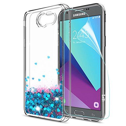 Galaxy J3 Prime/J3 Eclipse/J3 Emerge/J3 Mission/J3 Luna Pro/Express Prime 2/Amp Prime 2/Sol 2 Glitter Case with HD Screen Protector,LeYi Girls Women Clear Liquid Case for Samsung J3 2017 ZX Blue