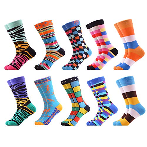 WeciBor Men's Colorful Novelty Patterned Casual Crew Socks Packs (062-82) -