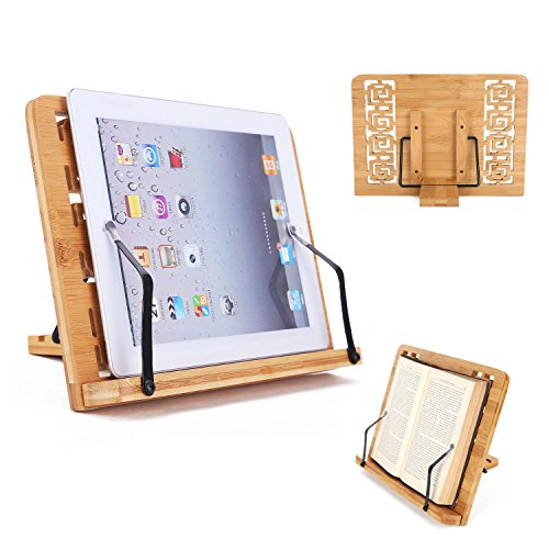 Text Single (Desktop Book Stands Cookbook Holder Books Rest Reading Stands Tablet Holder Foldable Tray Page Paper Clips Portable Bamboo Bookstand for Books iPad Laptop Textbook Recipe Document Music Piano (Hollow))