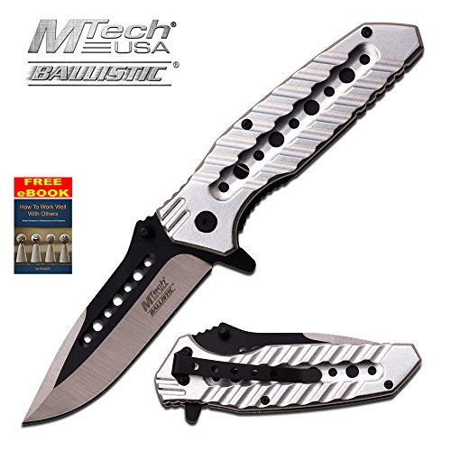 Mtech Grey & Black Spring Assist Assisted Knife Knives #A925SL + free eBook by OnlyUS - Edge Silver Aluminum Handle Plain