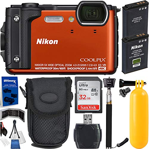 Nikon Coolpix W300 4K Wi-Fi Shockproof Waterproof Digital Camera (Orange) with Must Have Bundle: Includes – SanDisk Ultra 32GB Memory Card, 1x Seller Replacement Battery, Floating Buoy Handle