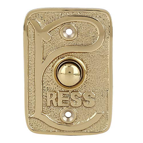 BRASS BELL PUSH BUTTON POLISHED LACQUERED Wired Brass Doorbell Chime Push Button in Polished Lacquered Finish Vintage Decorative Door Bell with Easy Installation