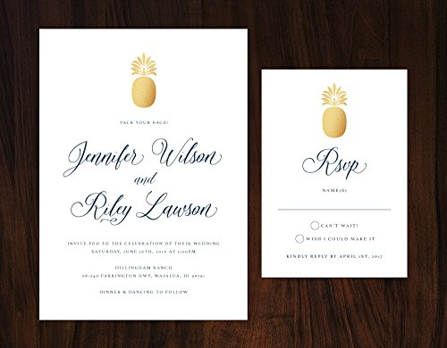 Tropical Wedding Invitation, Gold and Navy Tropical Wedding Invitation, Formal Destination Wedding Invite by Alexa Nelson Prints