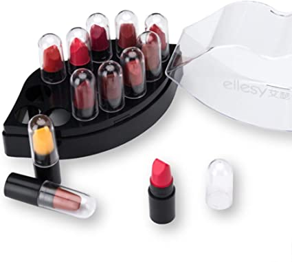 Allbestaye 12 colores Mini conjunto de maquillaje de lápiz labial Kit de Pintalabios mate para mujer Caja de regalo de labios a prueba de agua para niñas: Amazon.es: Belleza