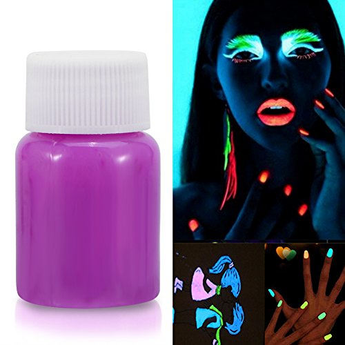Blacklight Glowing Paint, 4 Colors Halloween Fluorescent Face Paint UV Glow Body Paint Pigment Luminous Glow-in-the-Dark Color Makeup for Costumes Parties Stage Theater Festivals(Purple) -