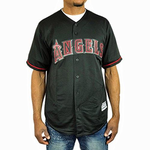 ロサンゼルス エンゼルス ベースボールシャツ マジェスティック ブラック 黒 赤 メンズ 半袖 JS49 B07BPDT4X7 Lサイズ
