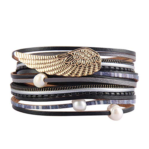 (Jeilwiy Womens Leather Bracelet Angel Wing Wrap Bangle Multilayer Baroque Pearl Casual Bracelet for Girls,Mom,Wife,Kids,Teen)