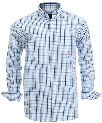 Double Pump Mens Button Down Shirts 100% Cotton Long Sleeve Shirts Regular Fit (SL04A,M)