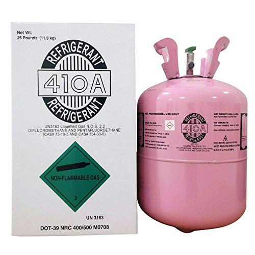 410A, R410a Refrigerant 25lb Tank, Made in USA, Excellent Heat/Cold Performance, Non-Chlorine and Environmentally Friendly, Best Replacement for R22, Suitable for Air Conditioning/Marine Equipment
