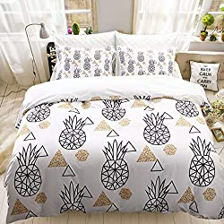 """White Pineapple Bedding Geometric Duvet Cover Set Pineapple Printed White Black Bedding Set Queen (90""""x90"""") One Duvet Cover Two Pillowcases (White Pineapple, Queen)"""