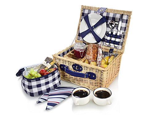 Sänger Picknickkorb aus Weidengeflecht mit Kühltasche | Innenseite aus Stoff in Blau kariert | Der Weidekorb beinhaltet Teller, Besteck, Tassen sowie Stoffservietten für 2 Personen