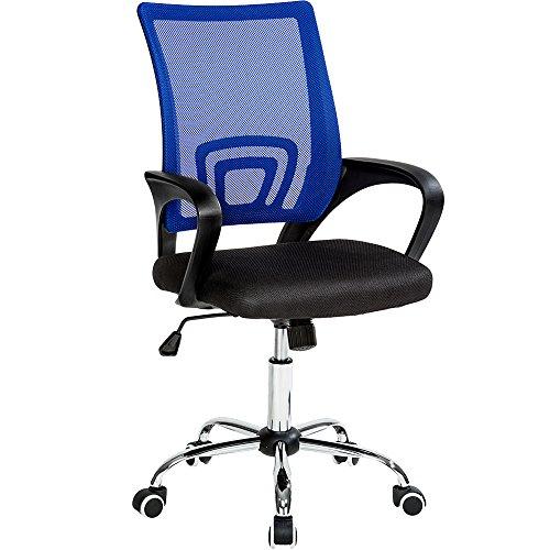 TecTake Silla de Oficina giratoria con Soporte Lumbar sillón Ejecutivo Silla de Escritorio tejid (Negro Azul | No. 401791)