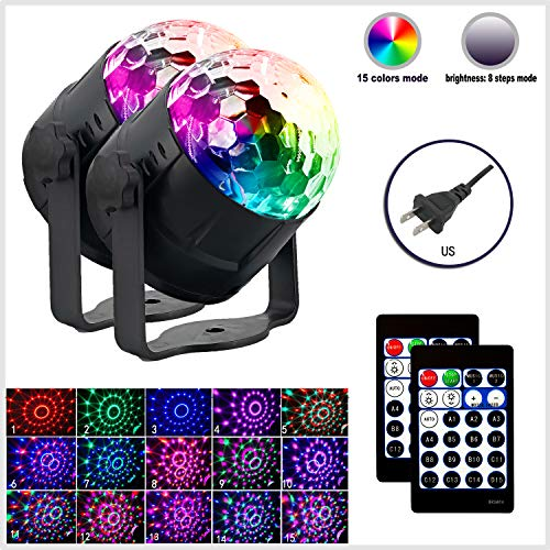 New Arrival Disco Light 15-Color Disco Ball Light Sound Activation Party Lights with Remote Control Strobe Light with dimming Party Birthday DJ bar car Holiday Decoration (US Plug (2 Pack))