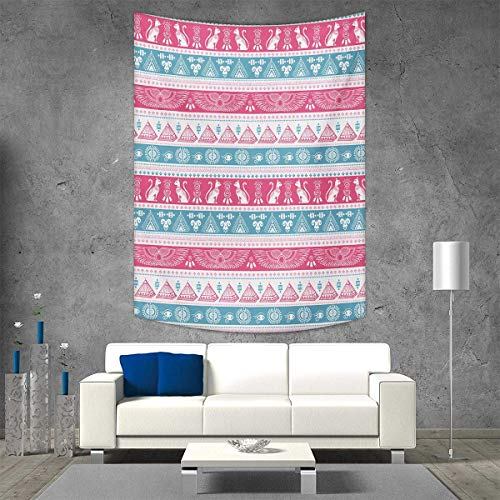 (smallbeefly Tribal Home Decorations Living Room Bedroom Ancient Egyptian Icons Cats Wings Pyramids Triangles Historical Pattern Wall Art Home Decor 60W x 91L INCH Pale Blue Pink White)