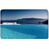Memory Foam Bath Mat,House Decor,Luxury Resort Swimming Pool in Santorini Greece Mediterranean Panorama PhotoPlush Wanderlust Bathroom Decor Mat Rug Carpet with Anti-Slip Backing,