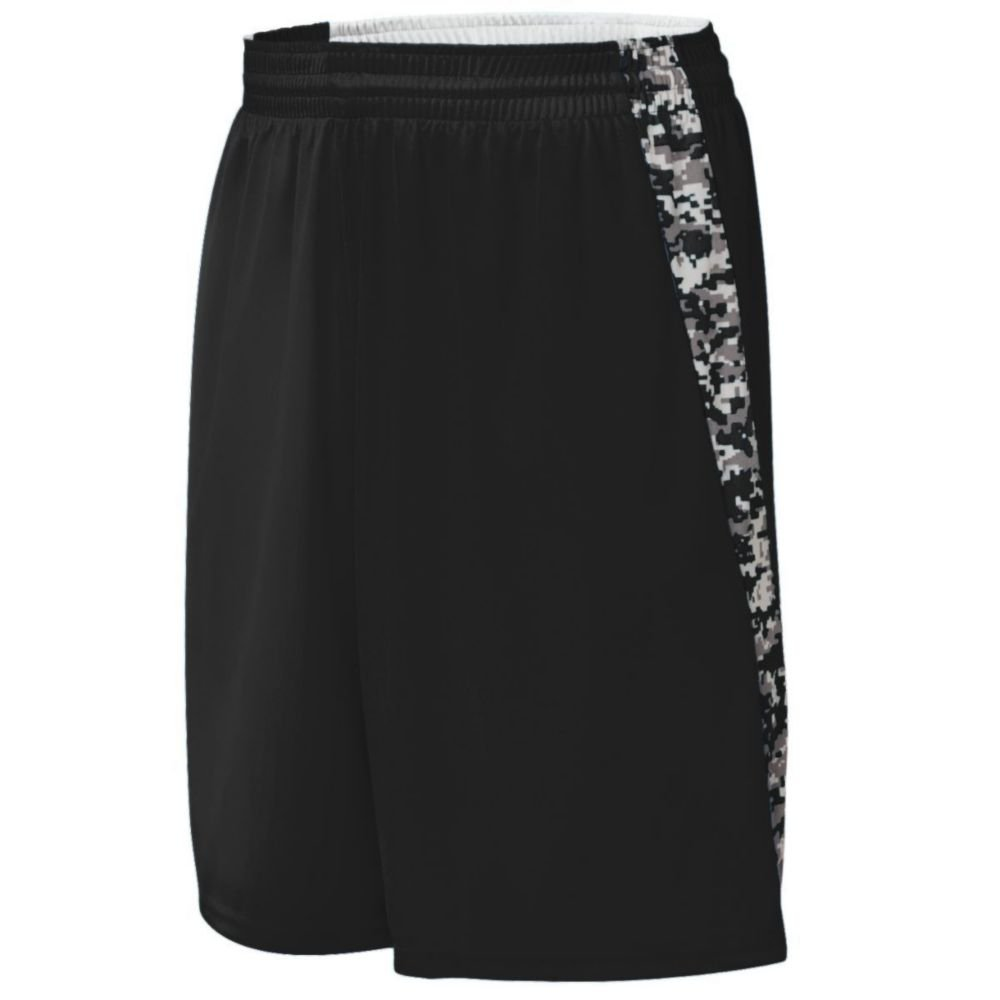 Augusta Activewear Hook Shot Reversible Short, Black/Black Digi, Large by Augusta Activewear